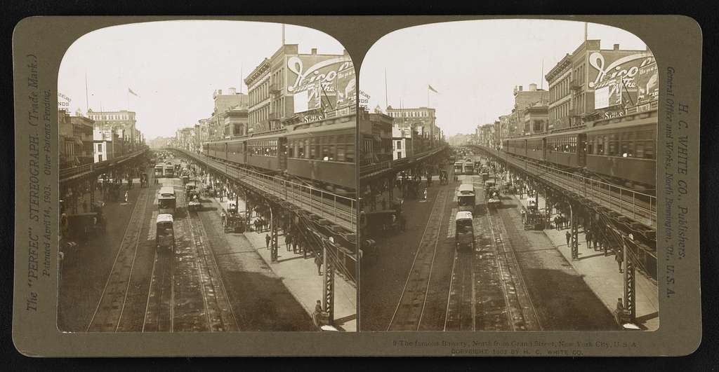 The famous Bowery, North from Grand Street, New York City, U.S.A