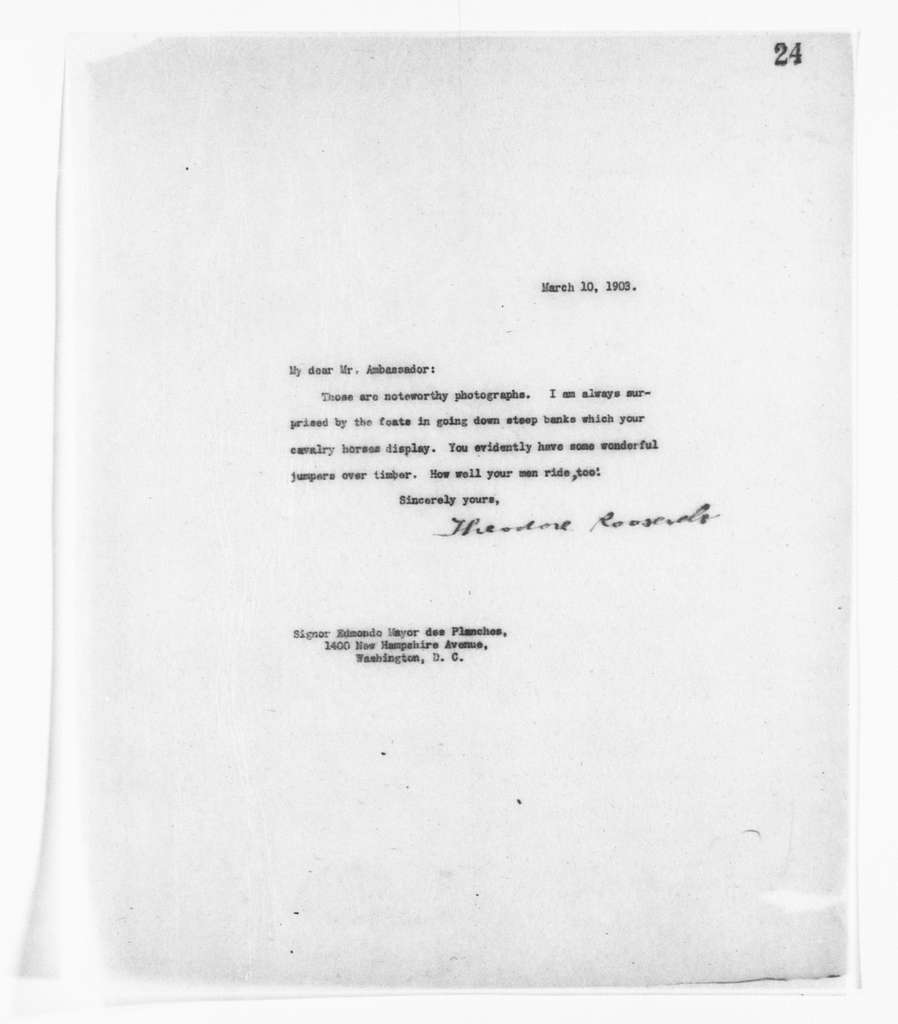 Theodore Roosevelt Papers: Series 2: Letterpress Copybooks, 1897-1916; Vol. 39, 1903, Mar. 9-May 19