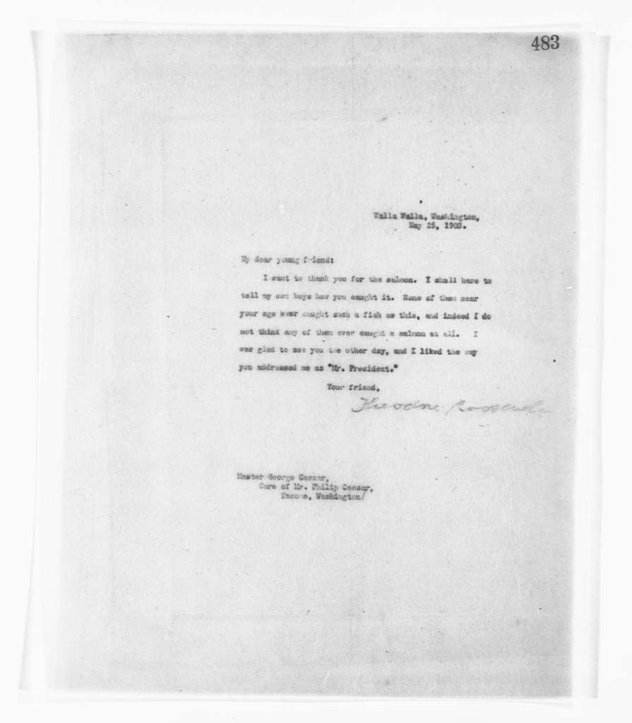 Theodore Roosevelt Papers: Series 2: Letterpress Copybooks, 1897-1916; Vol. 39, 1903, May 20-27