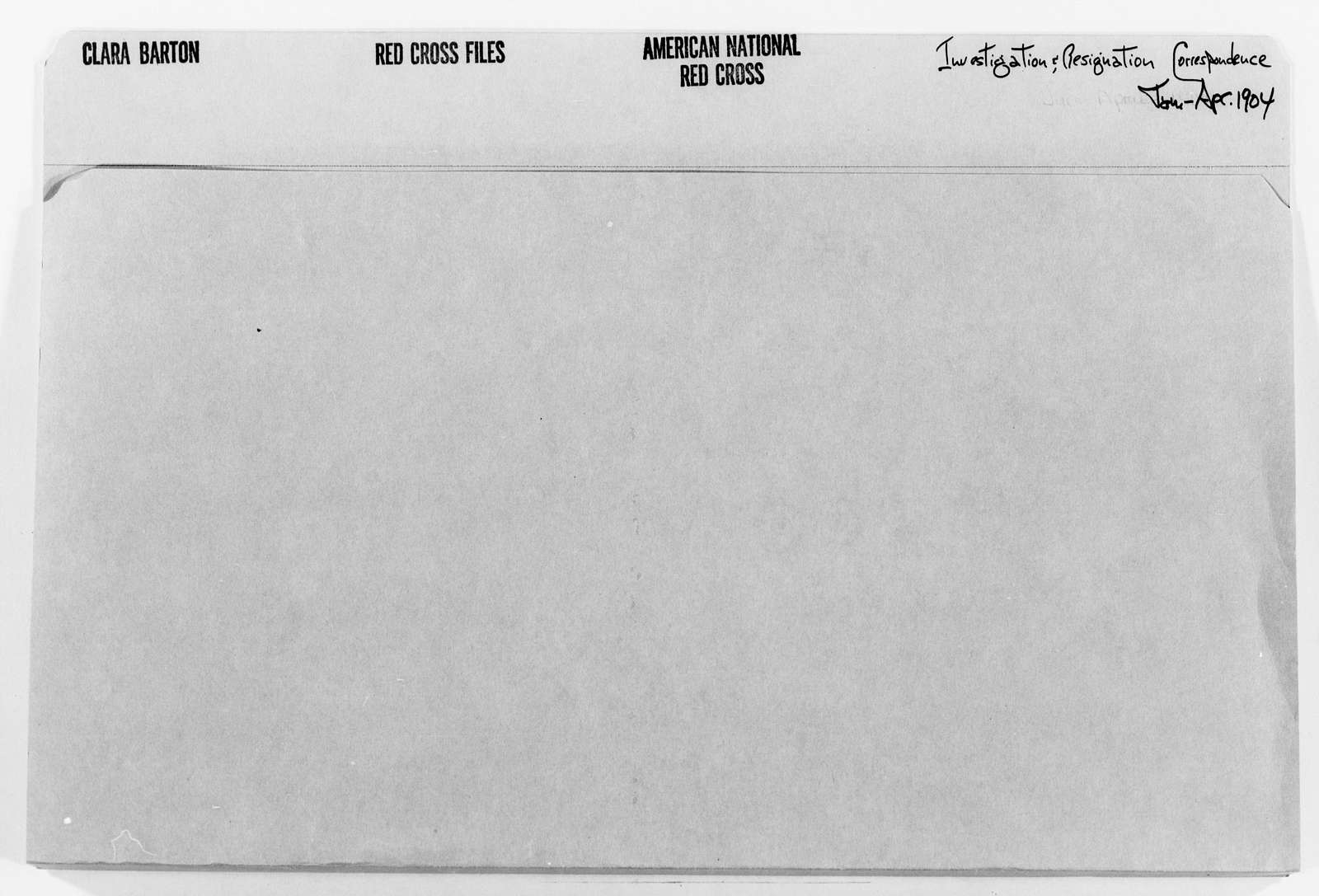 Clara Barton Papers: Red Cross File, 1863-1957; American National Red Cross, 1878-1957; Investigation and resignation; Correspondence; 1904-1910