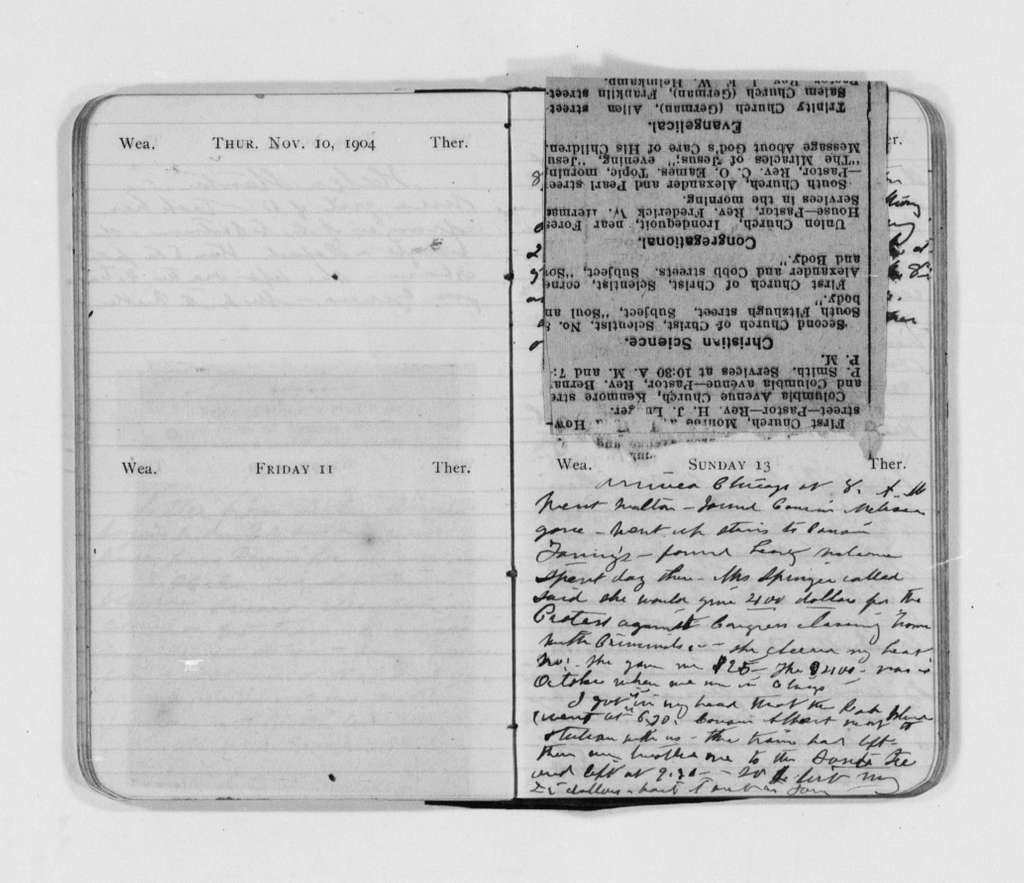 Susan B. Anthony Papers: Daybook and Diaries, 1856-1906; Diaries; 1904