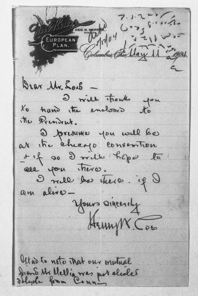 Theodore Roosevelt Papers: Series 1: Letters and Related Material, 1759-1919; 1904, Apr. 28-June 8
