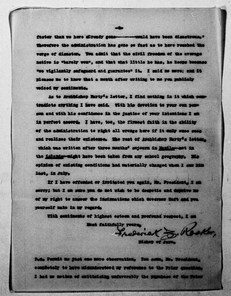 Theodore Roosevelt Papers: Series 1: Letters and Related Material, 1759-1919; 1904, Sept. 15-Oct. 10