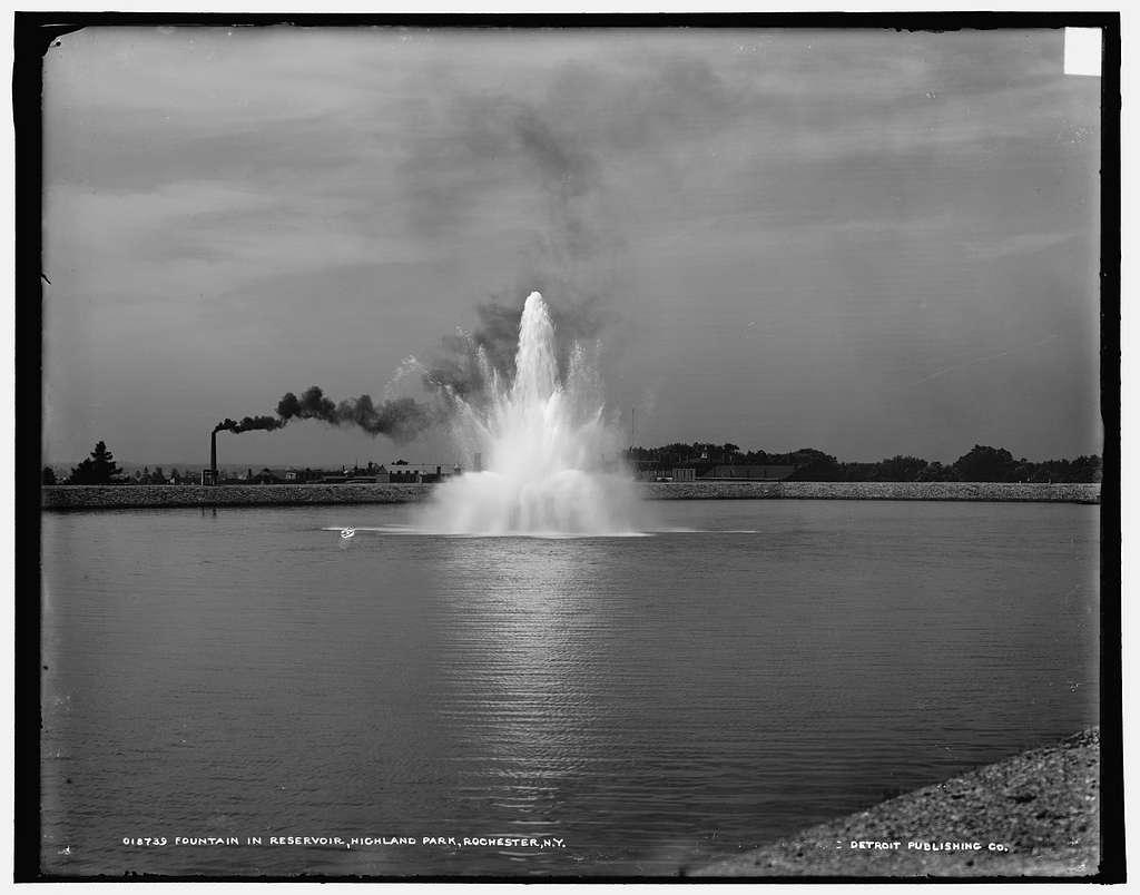 Fountain in reservoir, Highland Park, Rochester, N.Y