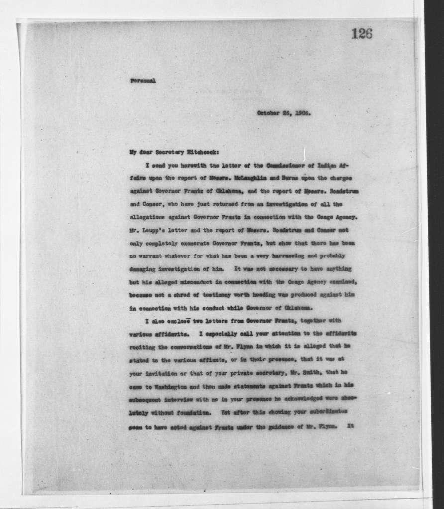 Theodore Roosevelt Papers: Series 2: Letterpress Copybooks, 1897-1916; Vol. 68, 1906, Oct. 22-Dec. 4