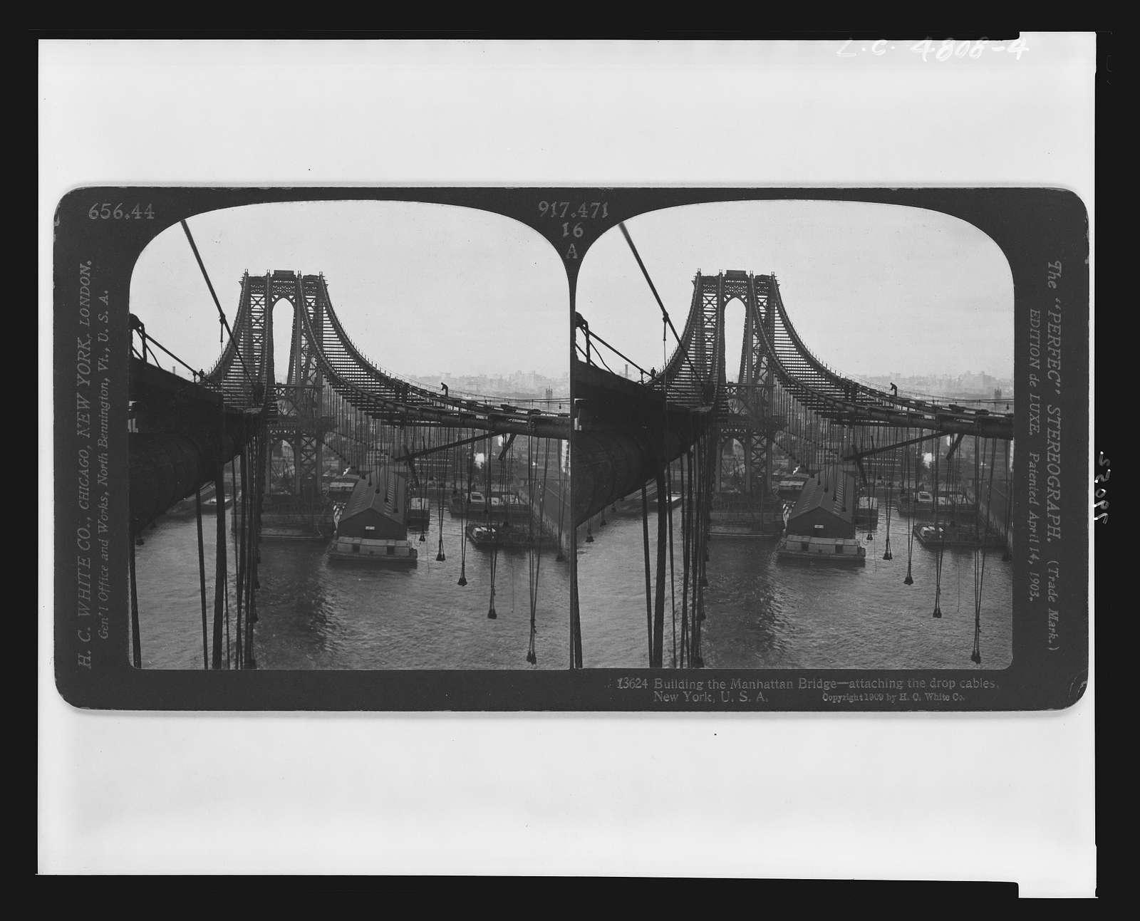 Building the Manhattan Bridge -- attaching the drop cables, New York, U.S.A