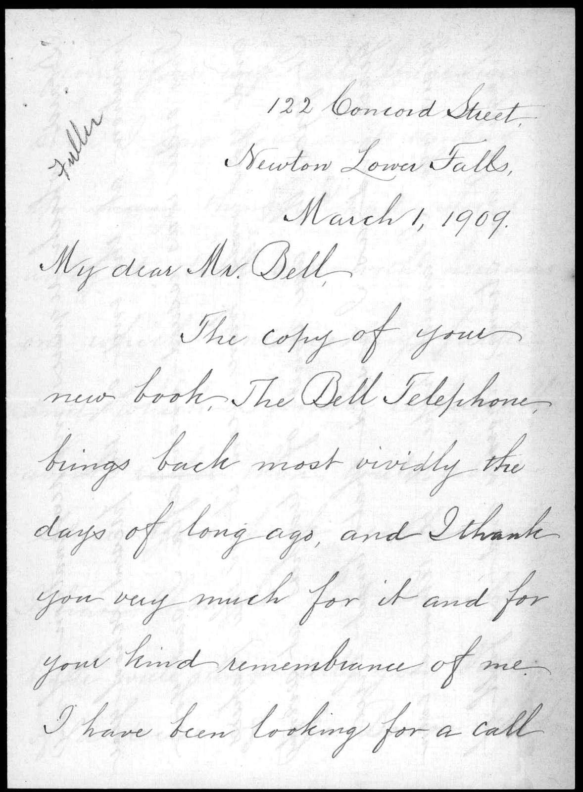 Letter from Sarah Fuller to Alexander Graham Bell, March 1, 1909