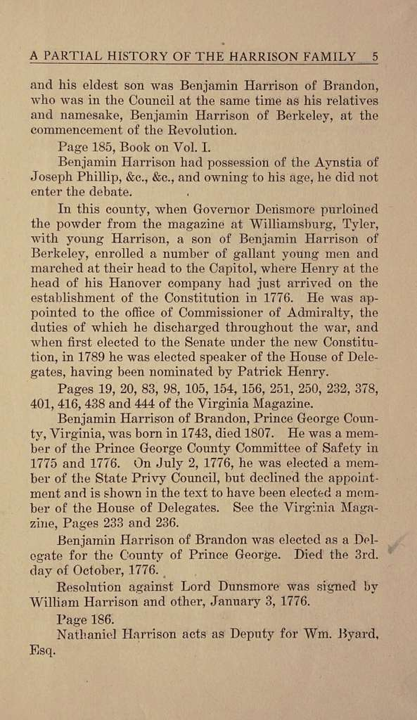 A partial history of the Harrison family