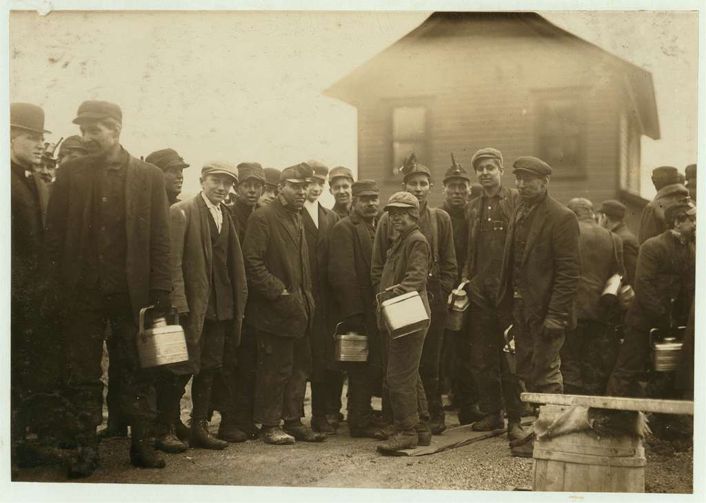 In centre is one of the young boys working underground in the Bliss Shaft of the D.L. & W. at Nanticoke, Pa. Location: Nanticoke, Pennsylvania