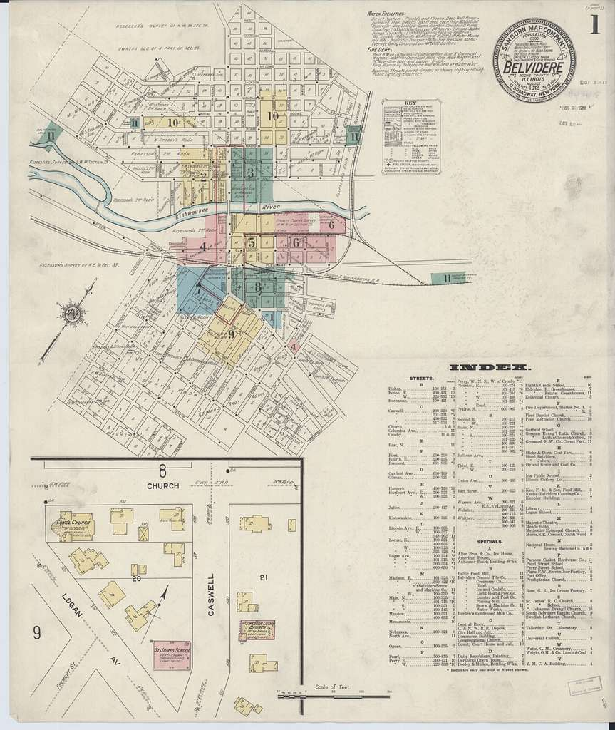 Sanborn Fire Insurance Map from Belvidere, Boone County, Illinois