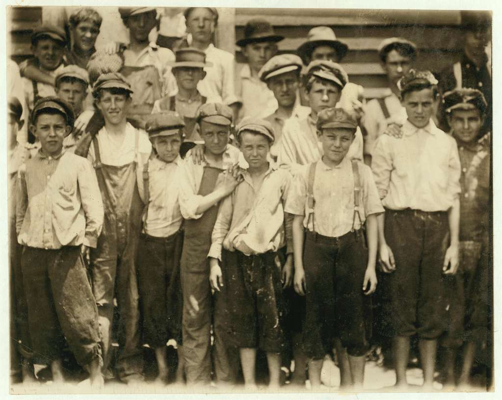 Some of the young boys working Pelzer, S.C. Mfg. Co. Some of these workers seem surely near 12 years. May 27, 1912. Location: Pelzer, South Carolina