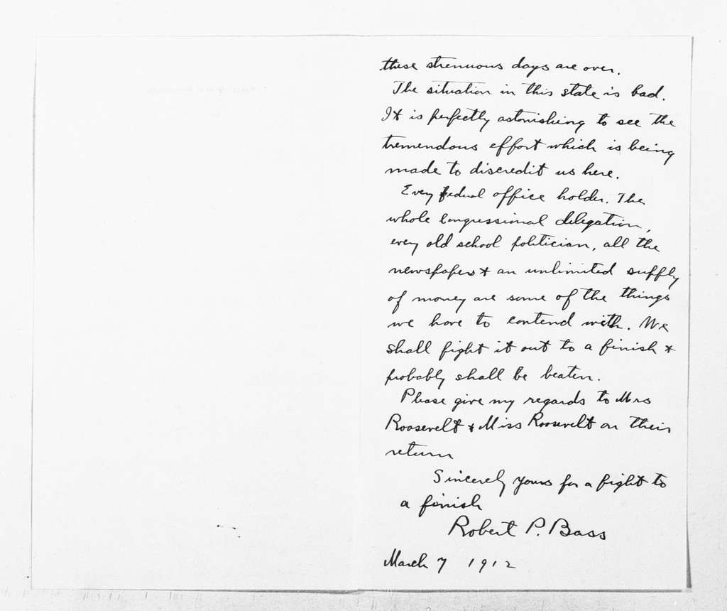 Theodore Roosevelt Papers: Series 1: Letters and Related Material, 1759-1919; 1912, Mar. 2-8