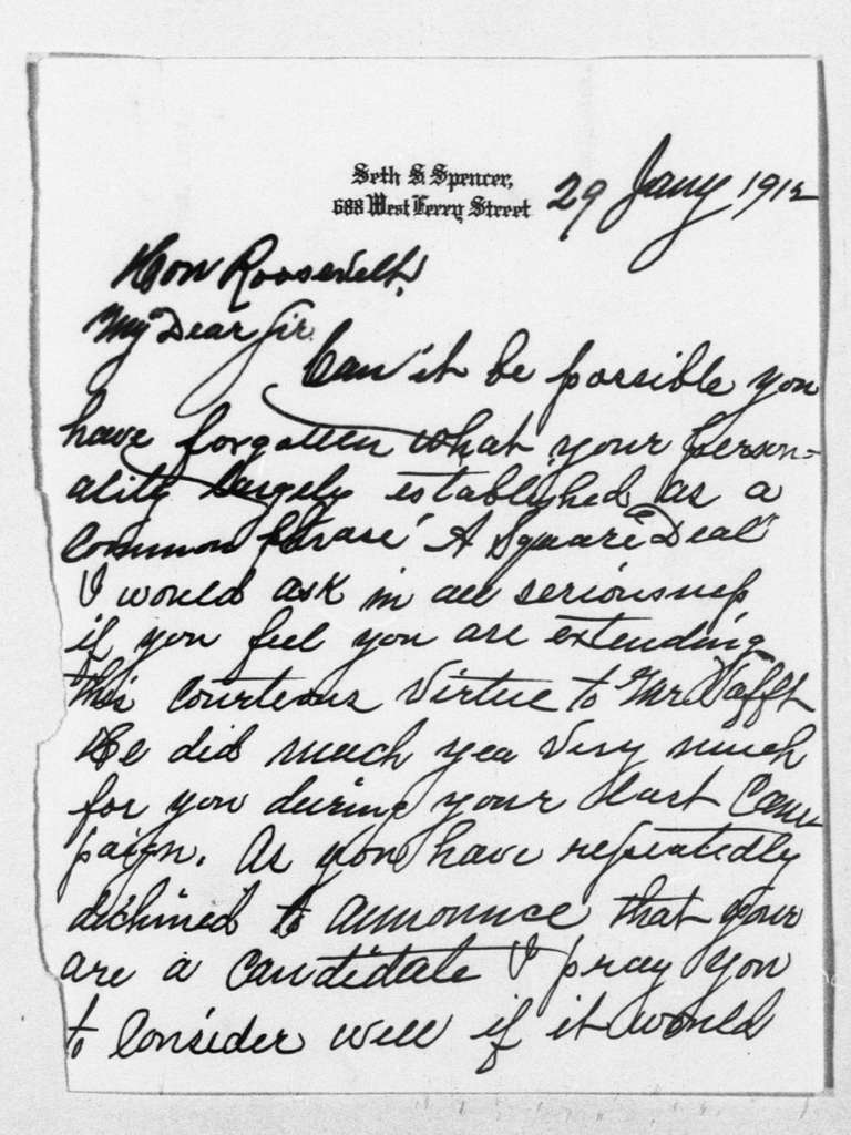 Theodore Roosevelt Papers: Series 1: Letters and Related Material, 1759-1919; 1912, Jan. 28-Feb. 1