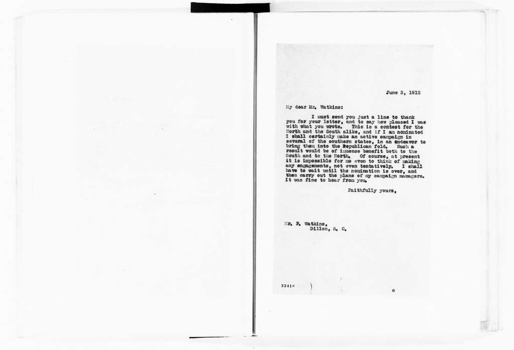 Theodore Roosevelt Papers: Series 3: Letters Sent, 1888-1919; Subseries 3A: Carbon Copies of Letters Sent, 1894-1919; Vol. 60, 1912, May 30-June 4