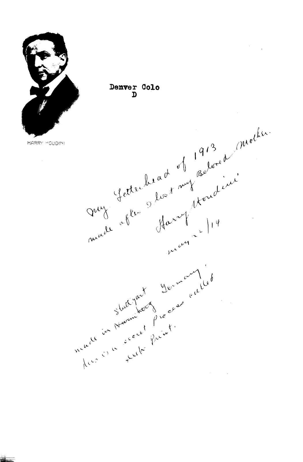 Houdini letterhead from 1913