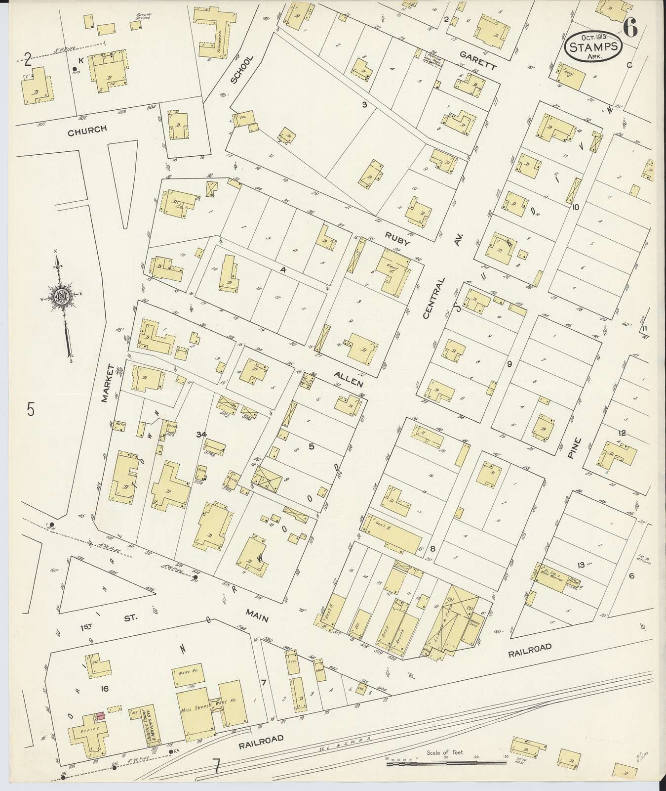 Sanborn Fire Insurance Map from Stamps, Lafayette County, Arkansas