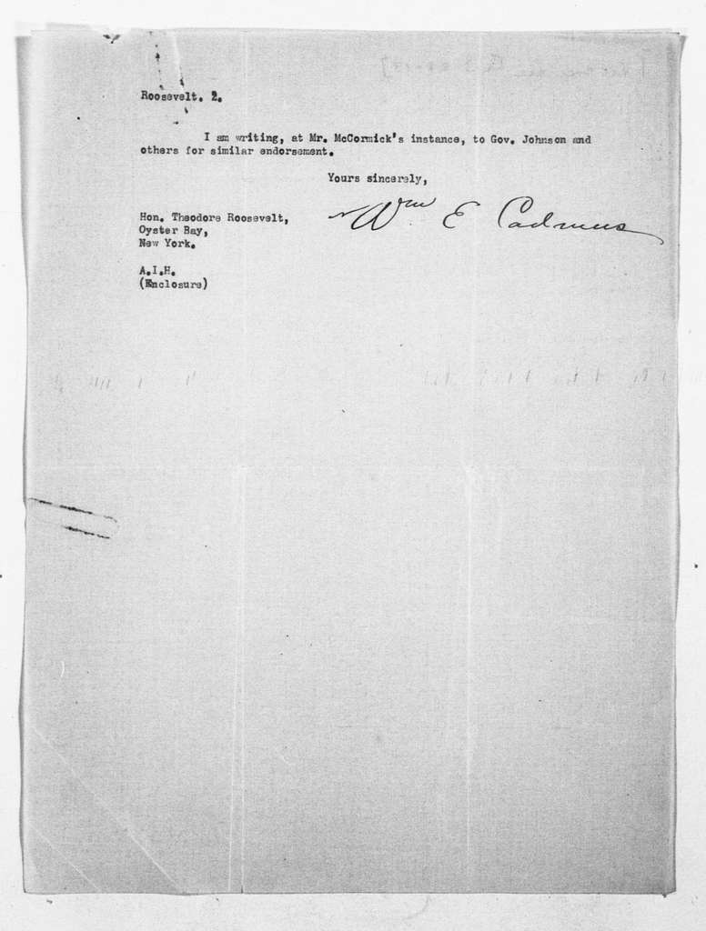 Theodore Roosevelt Papers: Series 1: Letters and Related Material, 1759-1919; 1913, Mar 19-Apr. 3