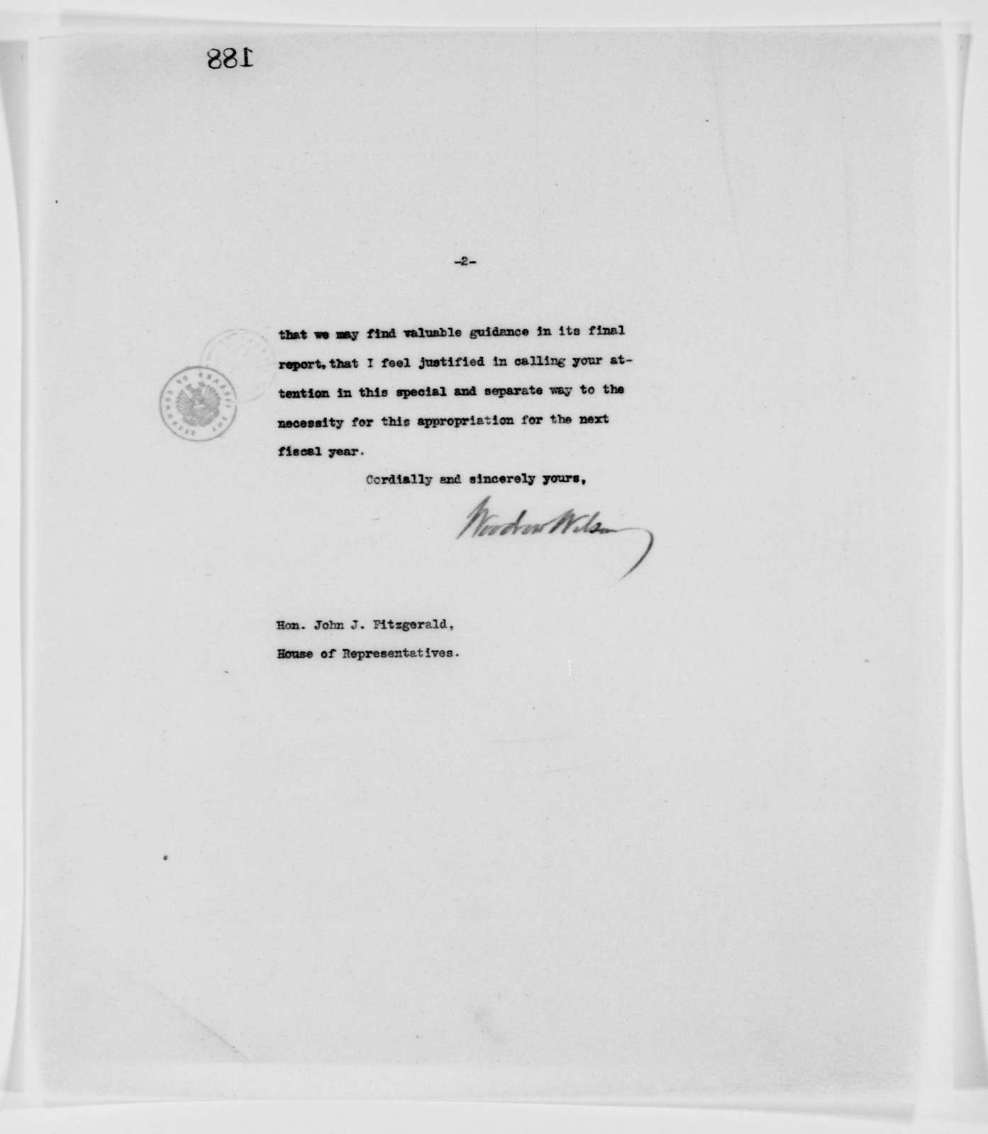 Woodrow Wilson Papers: Series 3: Letterbooks, 1913-1921; Vol. 2, 1913, Mar. 30-Apr. 24
