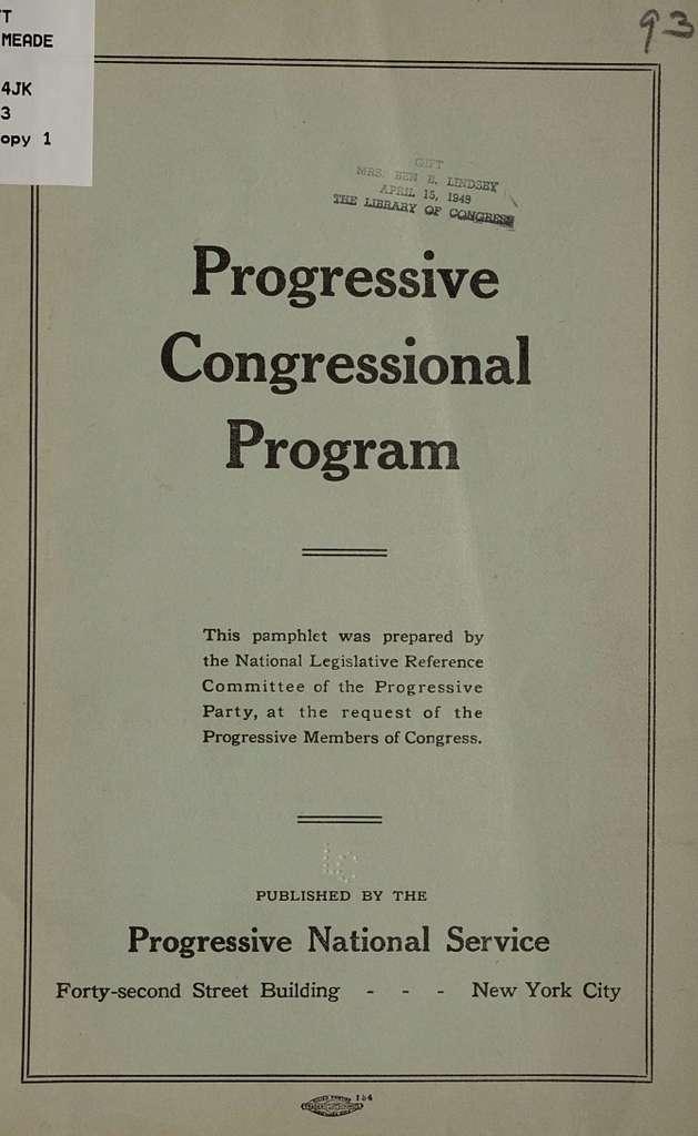 Progressive congressional program
