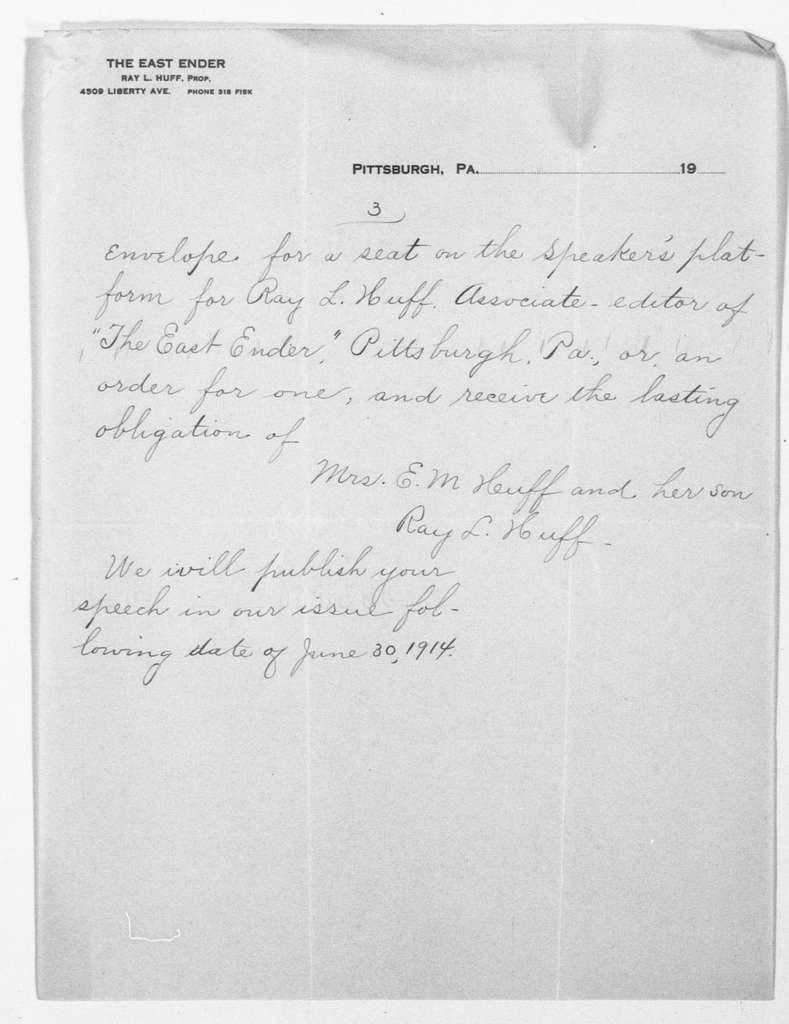 Theodore Roosevelt Papers: Series 1: Letters and Related Material, 1759-1919; 1914, May 28-June 21