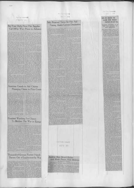 World War history : daily records and comments as appeared in American and foreign newspapers, 1914-1926 (New York), September 7, 1914, (1914 September 7-10)