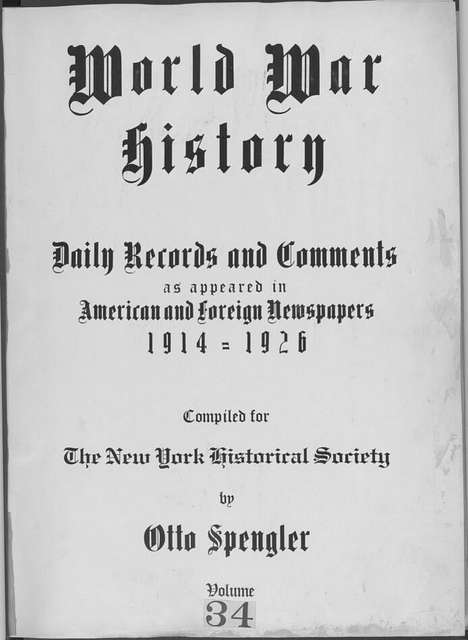 World War history : daily records and comments as appeared in American and foreign newspapers, 1914-1926 (New York), November 18, 1914, (1914 November 18-22)