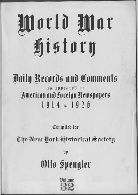 World War history : daily records and comments as appeared in American and foreign newspapers, 1914-1926 (New York), November 9, 1914, (1914 November 9-15)