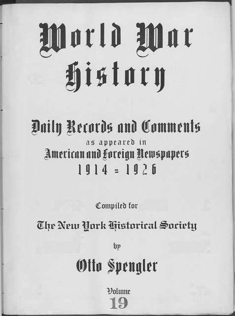 World War history : daily records and comments as appeared in American and foreign newspapers, 1914-1926 (New York), September 20, 1914, (1914 September 20-23)