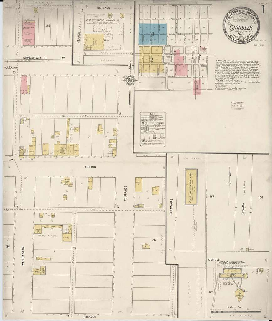 Sanborn Fire Insurance Map from Chandler, Maricopa County, Arizona