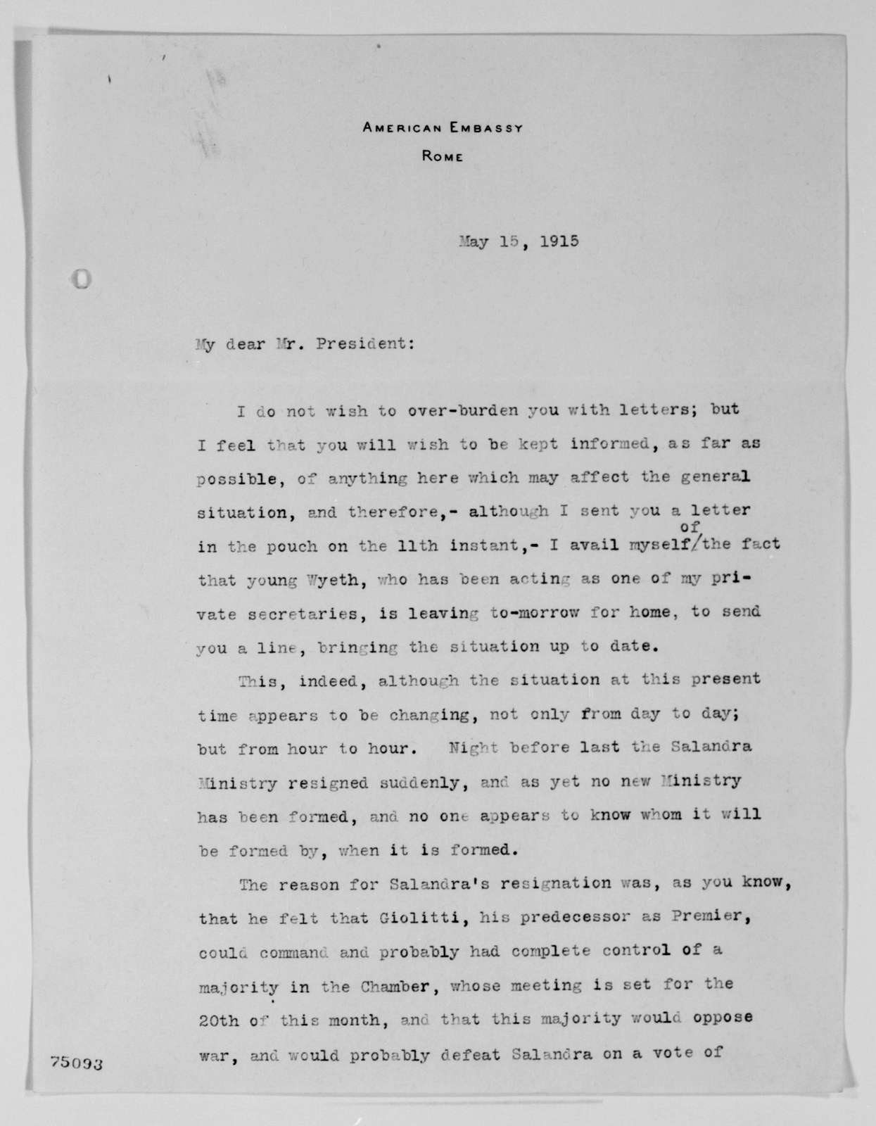 Woodrow Wilson Papers: Series 2: Family and General Correspondence, 1786-1924; 1915, Apr. 13-June 2