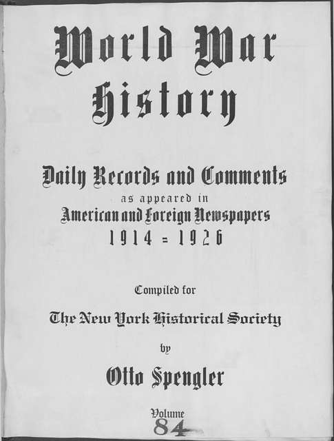 World War history : daily records and comments as appeared in American and foreign newspapers, 1914-1926 (New York), June 7, 1915, (1915 June 7-10)