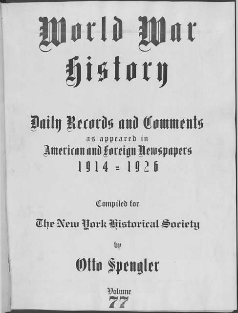 World War history : daily records and comments as appeared in American and foreign newspapers, 1914-1926 (New York), May 11, 1915, (1915 May 11-14)