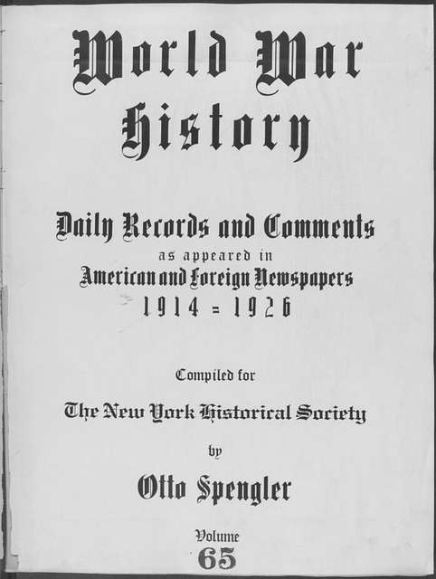 World War history : daily records and comments as appeared in American and foreign newspapers, 1914-1926 (New York), March 14, 1915, (1915 March 14-18)
