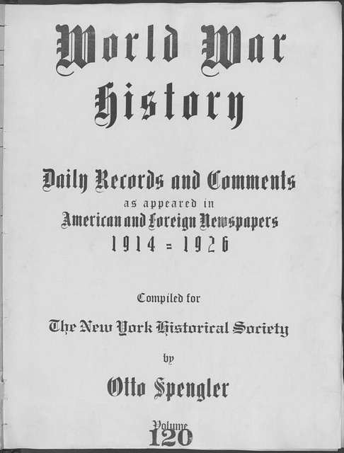 World War history : daily records and comments as appeared in American and foreign newspapers, 1914-1926 (New York), November 4, 1915, (1915 November 4-8)