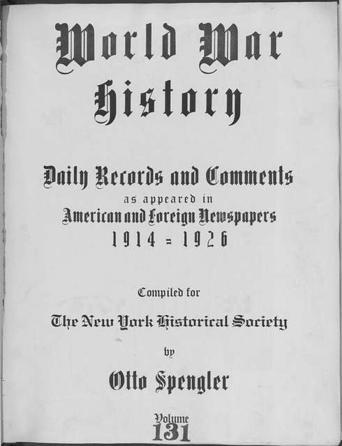 World War history : daily records and comments as appeared in American and foreign newspapers, 1914-1926 (New York), December 14, 1915, (1915 December 14-18)