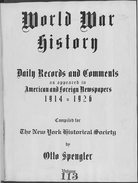 World War history : daily records and comments as appeared in American and foreign newspapers, 1914-1926 (New York), October 7, 1915, (1915 October 7-11)