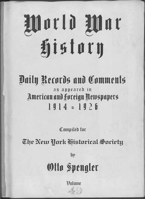 World War history : daily records and comments as appeared in American and foreign newspapers, 1914-1926 (New York), January 9, 1915, (1915 January 9-12)