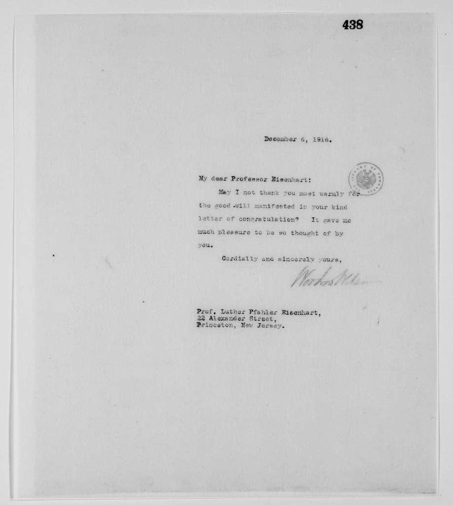 Woodrow Wilson Papers: Series 3: Letterbooks, 1913-1921; Vol. 36, 1916, Nov. 29-Dec. 7