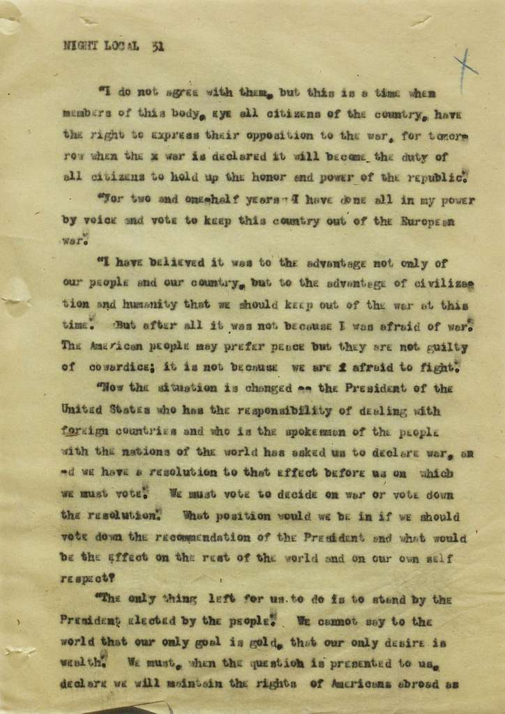 Associated Press, Washington, D.C., Bureau News Dispatches: 1917, Apr. 1-15