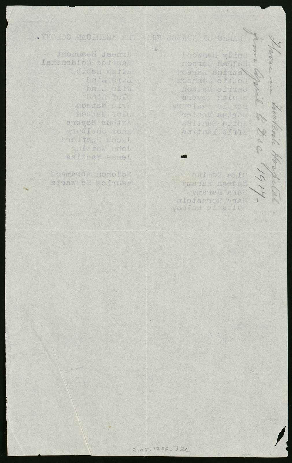 List of names of American Colony Nurses, World War I, Jerusalem