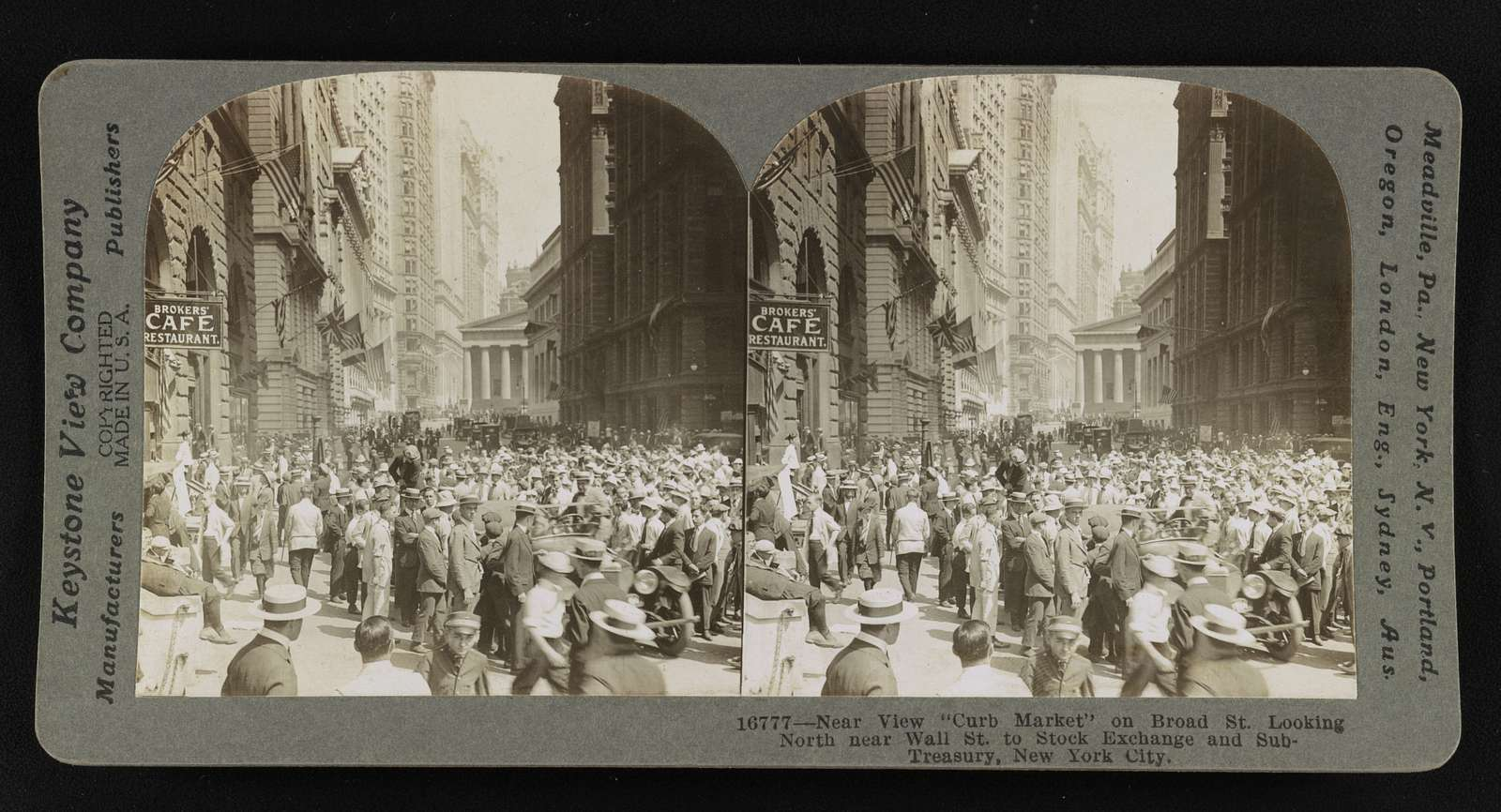 """Near view """"Curb Market"""" on Broad St. looking north near Wall St. to Stock Exchange and Sub-Treasury, New York City"""