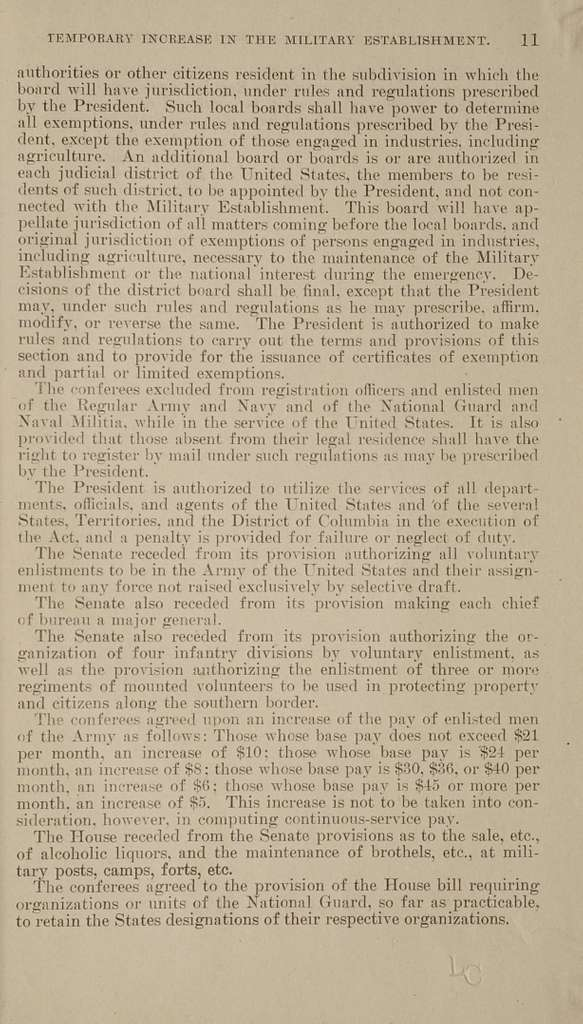 Temporary increase in the military establishment of the United States ..