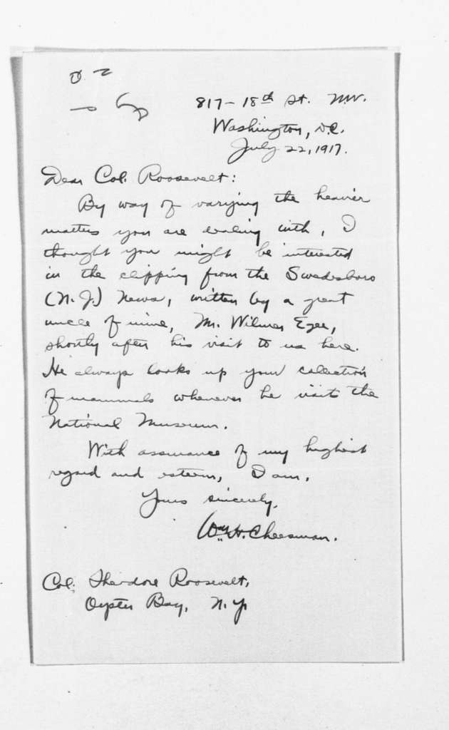 Theodore Roosevelt Papers: Series 1: Letters and Related Material, 1759-1919; 1917, July 19-29