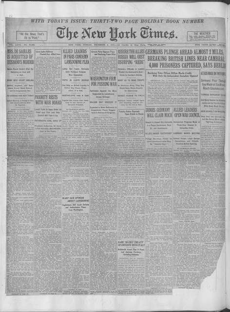 World War history : daily records and comments as appeared in American and foreign newspapers, 1914-1926 (New York), December 1, 1917, (1917 December 1-5)