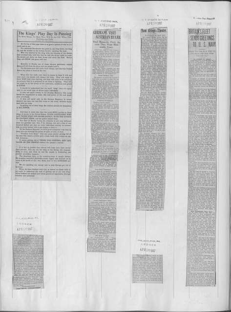 World War history : daily records and comments as appeared in American and foreign newspapers, 1914-1926 (New York), April 17, 1917, (1917 April 17-22)