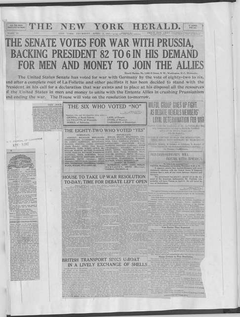 World War history : daily records and comments as appeared in American and foreign newspapers, 1914-1926 (New York), April 3, 1917, (1917 April 3-7)