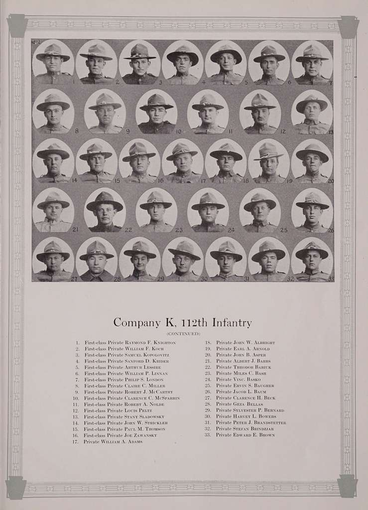 A short history and illustrated roster of the 112th infantry, army of the United States, Colonel George C. Rickards commanding, 1917
