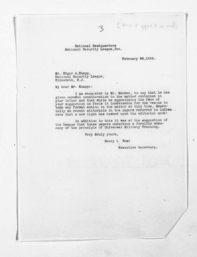 Theodore Roosevelt Papers: Series 1: Letters and Related Material, 1759-1919; 1918, Feb. 26-Mar. 4