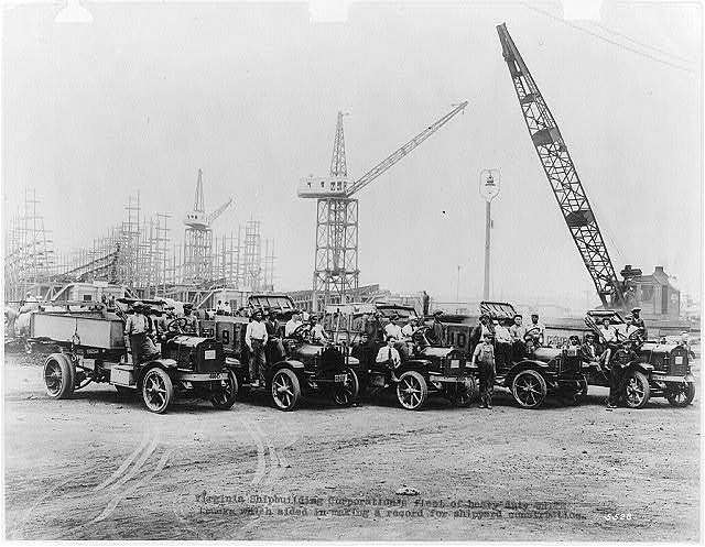 Virginia Shipbuilding Corporation's fleet of heavy duty White trucks which aided in making a record for shipyard construction Hoffman & Lane, commercial photography, Cleveland