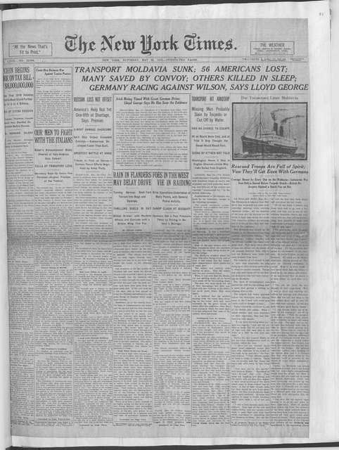 World War history : daily records and comments as appeared in American and foreign newspapers, 1914-1926 (New York), May 24, 1918, (1918 May 24-26)